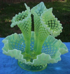 Vaseline Glass Fenton Epergne